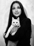 Victoria Principal Actress with Her Cat Lafjan05 3rd January Birthday of Victoria Principal Photographic Print