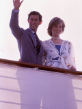 Prince Charles and Princess Diana Standing Together on Board Ship to Start Their Honeymoon Photographic Print