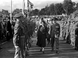 Princess Elizabeth Tour of Devon and Cornwall, Reviewing Army Soldiers. October 1949 Photographic Print