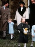 Prince Charles, Princess Diana, Prince Harry and Zara Phillips at Sandringham January 1988 Photographic Print