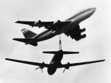 Israeli El Al Boeing 747 and a Propeller HS 748 Nearly Miss One Another, June 1948 Photographic Print
