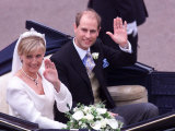 Prince Edward and Sophie Rhys Jones Waving After Their Wedding at Windsor June 1999 Photographic Print