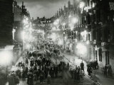 Rolland Street Maryhill Glasgow June 1953 Coronation Illuminations Decorations Crowds in Street Photographic Print