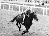 Princess Margaret Riding a Horse at Ascot Before Spectators Arrive For Meeting Photographic Print