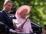 The Queen and Prince Charles in a Carriage at the Queen Mother's 100th Birthday Pageant Photographic Print