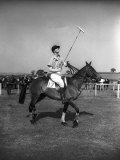 Prince Philips Rides Along on Horseback Holding Polo Stick During Game Photographic Print