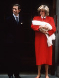 Prince Charles and Princess Diana with Prince Harry After His Birth September 1984 Photographic Print