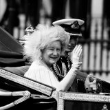 Queen Mother with Prince Charles Waving as They Ride in the Royal Carriage c.1985 Photographic Print