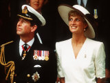 Prince and Princess of Wales Watch a Flypast During the Gulf War Celebrations, June 1991 Photographic Print