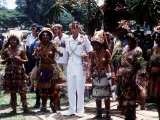 Prince Charles in Papua New Guinea Crowned 10th Lapan of Manus August 1984 Fotografisk tryk