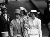 Prince Charles and Princess Diana with Oliver Hoare and Wife Diane at Royal Horserace Meeting Photographic Print