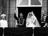 Prince Charles, Lady Diana, Queen Elizabeth II,Prince Philip on Balcony at Buckingham Palace Fotografisk tryk