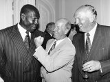 Frank Bruno Boxer with Bobby Charlton and Henry Cooper at the Queens Birthday Party, 1992 Photographic Print