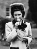 Princess Margaret Smells a Rose on Royal Visit to Belfast 1947 Photographic Print