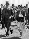 The Queen Wearing a Summer Dress, with Hat of Emerald Green and a Matching Short Coat Photographic Print