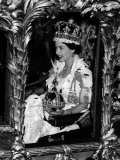 Queen Elizabeth II Riding Along in the Coronation Coach Wearing Crown and Carrying Orb Photographic Print