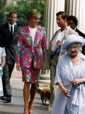 Prince Charles and Princess Diana with Prince Edward and Queen Mother January 1993 Photographic Print