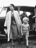 Princess Anne at Four Years Old Arriving with Queen Elizabeth at a Horse Show May 1955 Photographic Print