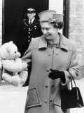 Hrh Queen Elizabeth II with Teddy Bear For Princess Beatrice June 1989 Photographic Print