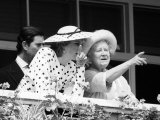 Queen Mother with Prince Charles and Princess Diana at the Races c.1988 Photographic Print
