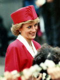 Princess Diana, on Walkabout During Visit Wearing Red Suit and Red Pillbox Hat, May 1989 Photographic Print