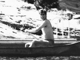 Prince Andrew Canoeing in Canada Without a Shirt August 1978 Photographic Print