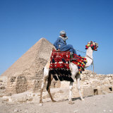 Pyramid Giza Egypt Man on Camel Photographic Print