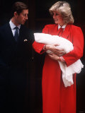 Prince Harry Soon After Birth, Being Held by His Mother Princess Diana and Father Prince Charles Photographic Print