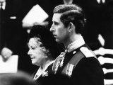Queen Mother and Prince Charles at Funeral of Lord Mountbatten Held at Westminster Abbey 1979 Photographic Print