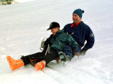 Prince Charles on a Sledge with Prince Harry While on Holiday in Klosters Switzerland January 1997 Fotografisk tryk