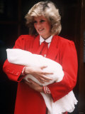 Prince Harry Being Held by His Mother Princess Diana Soon After His Birth Photographic Print