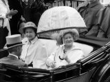 Queen Mother Riding Down the Course with the Queen in an Open Top Carriage in the Ascot Procession Photographic Print