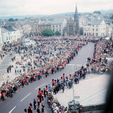 Investiture of Prince Charles of Wales View from Caernarvon Castle Across the Town Square Photographic Print