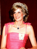 Princess Diana in Australia at the State Reception at Brisbane Wearing a Pink Dress and Tiara Photographie