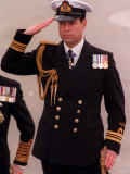 Prince Andrew Inspects Sea Scouts at Trafalgar Square During the Annual Trafalgar Day Service Fotografisk tryk