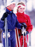 Prince and Princess of Wales Skiing in Klosters, Switzerland, February 1986 Photographic Print
