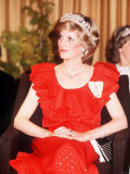 Princess Diana in Australia Tasmania at the State Reception in Wrest Point Hotel Wearing Red Dress Photographie