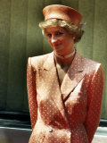 Princess Diana Princess of Wales Wearing Orange and White Polka Dot Dress with Matching Hat Photographic Print