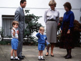 Prince Harry with His Family at His First Day of School at Chepstow Villas in Kensington Photographic Print
