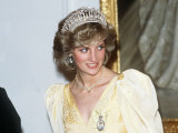 Princess Diana in New Zealand Government House Ball Wellington Wearing a Yellow Dress and Tiara Photographic Print