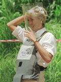 Princess Diana Adjusts Her Face Protector During Her Visit to Mine Fields in Haumbo Angola Photographic Print