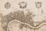 John Stow - Plan of the City of London, 1720 - Poster