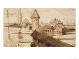 Lucerne, Chapel Bridge Giclee Print by Victor Hugo