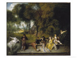 Conversation in the Open Air Posters by Jean Antoine Watteau