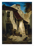 Farmhouse Courtyard in Fontainebleu Giclee Print by Alexandre Gabriel Decamps