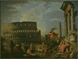 Landscape With Colosseum Giclee Print by Giovanni Paolo Pannini