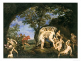 Diana With Nymphs and Actaeon Plakat af Francesco Albani