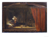 The Holy Family With the Curtain Poster by  Rembrandt van Rijn