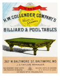 The H.W. Collender Company's World Renown Billiard and Pool Tables Posters
