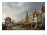 Napoleon and Josephine Enter Antwerp Print by Mathieu Ignace van Bree